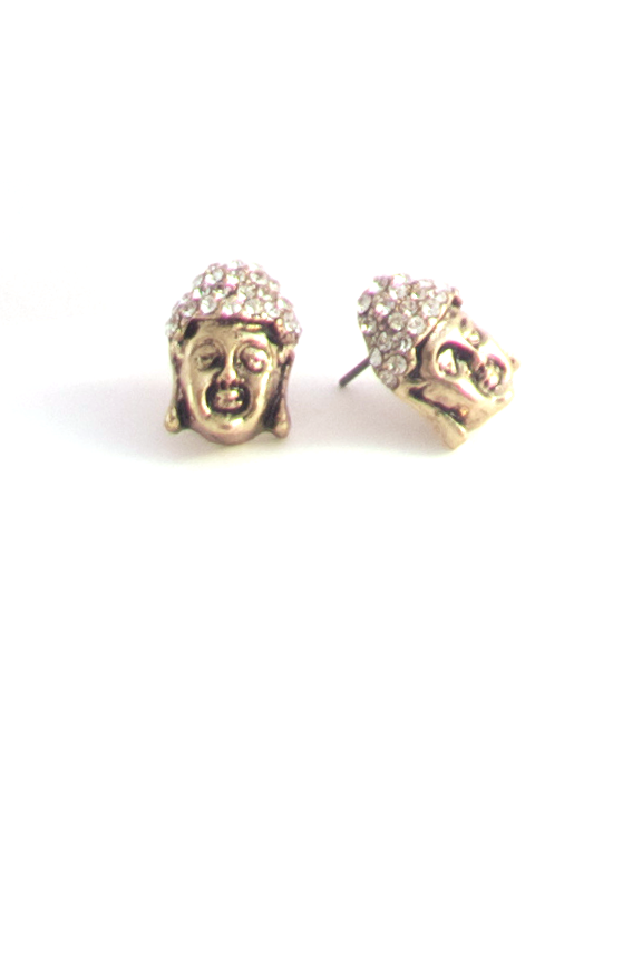 Little Buddha Earrings in Antique Gold