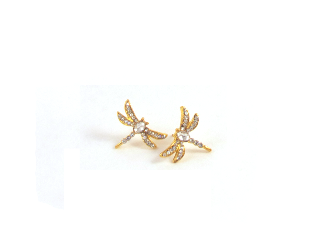 Dragonfly Me to the Moon Earrings in Gold