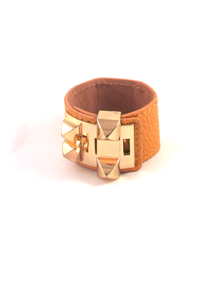 Luxurious Luggage Cuff Bracelet in Tan