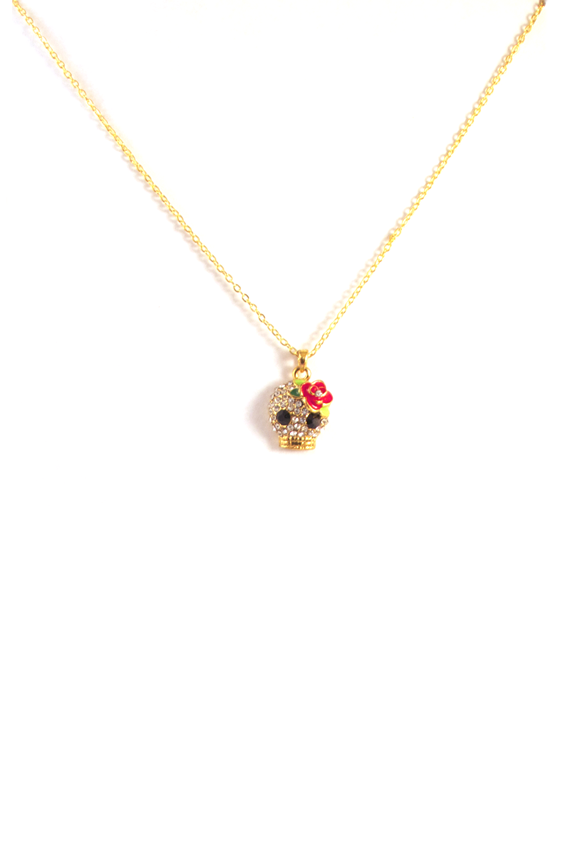 Skull's Out For Summer Necklace in Gold