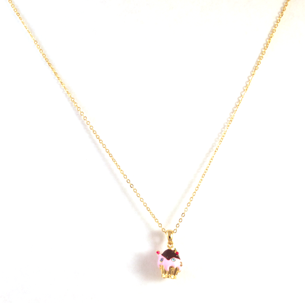 Cupcake Of the Day Necklace in Gold