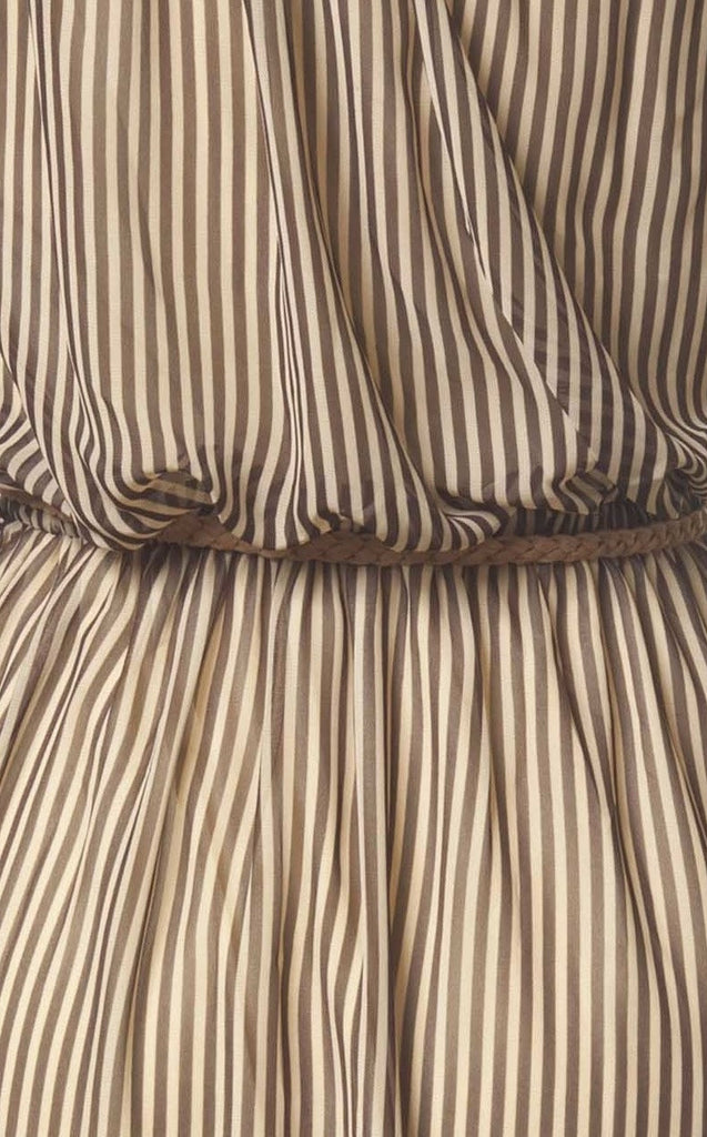 Sultry in Stripes High Low Dress in Taupe