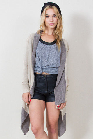 Metro Stop Cardigan in Oatmeal and Heather Gray