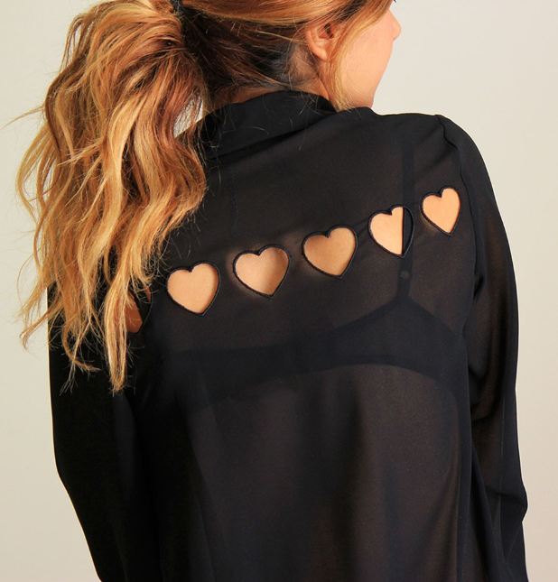 Hearts in a Row Top in Black