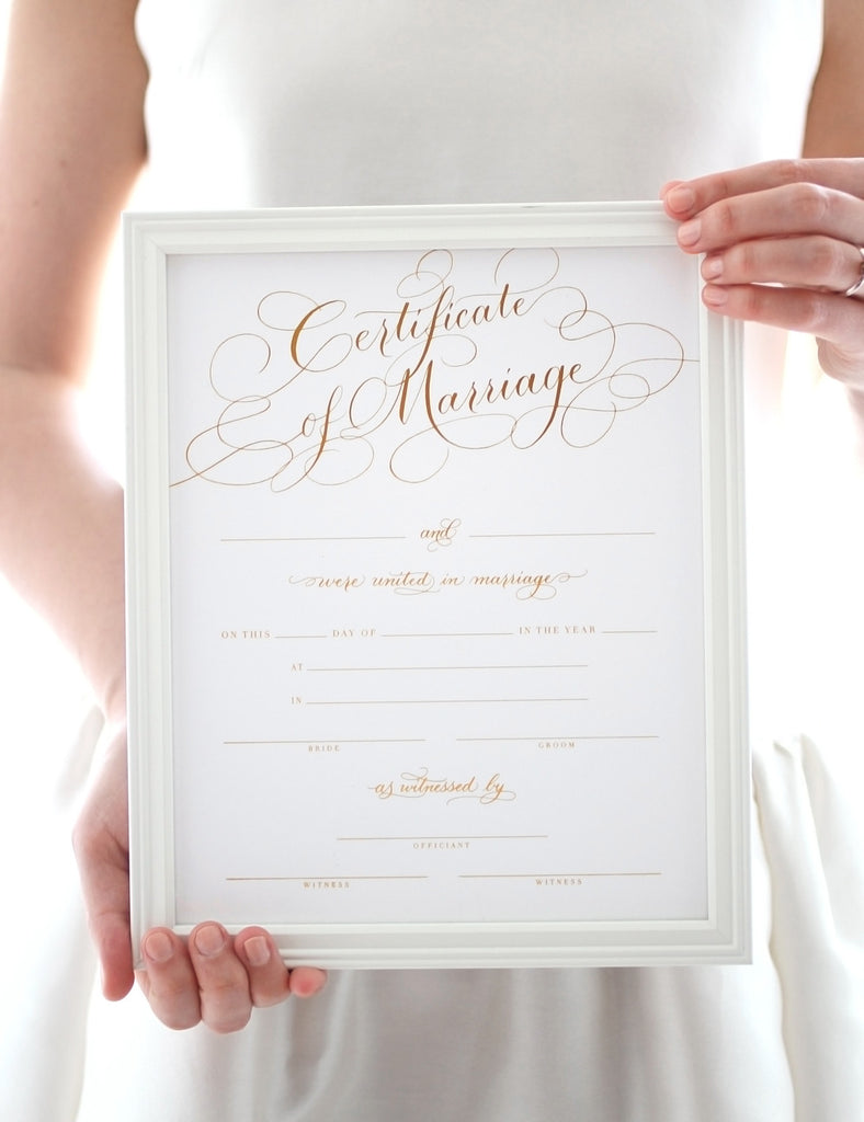 Marriage Certificate - Gold