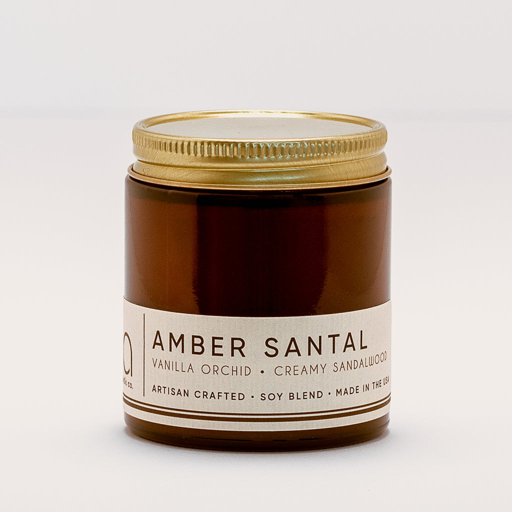 Amber Santal Petite Candle 20hr Burn - bia candle co