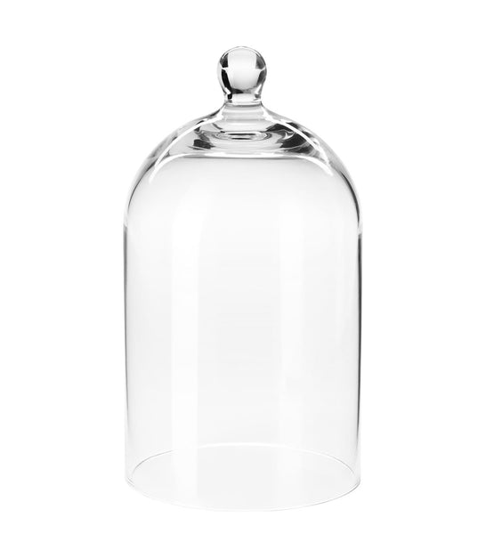 glass cloche dome of hand made quality, covers classic candle as an accessory
