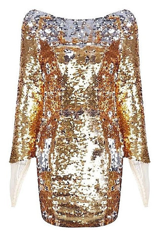 Malkah Gauntlet Sleeve Sequin Dress - Vintage Gold