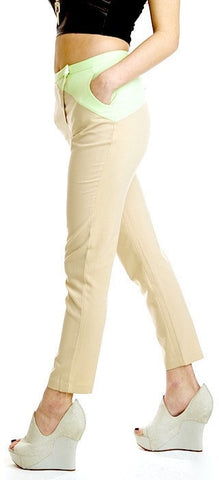 Mint Chip Color Block Pants in beige and mint. Small, Medium or Large