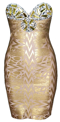 Marissa Bejeweled Gold Bandage Dress