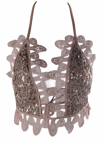 Butterfly Sequined Cut Out Crop Top - Brown