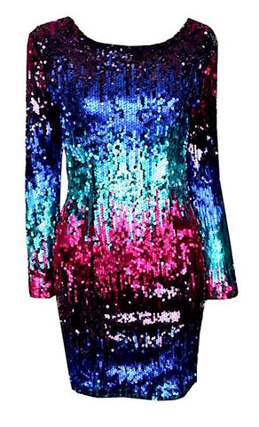 Kandice Rainbow Ombre Long Sleeve Open Back Sequin Dress