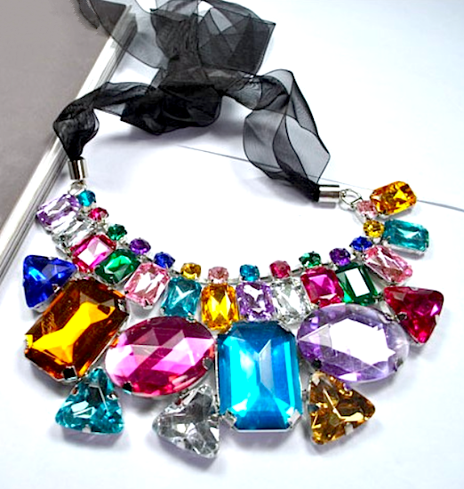 Collar Crystal Jewel Necklace - Multi Color