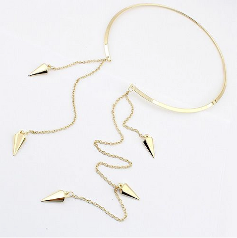 Gold Spiked Bangle Necklace