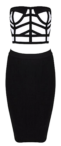 Karen Two Piece Bustier Bandage Dress, Black & White - LAST ONE!