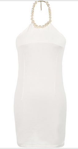 Erica Pearl Necklace Halter Dress - White