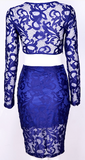 Heidi Two Piece Lace Dress - Royal Blue
