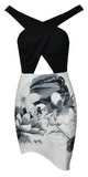 Sheila Black and White Halter Floral Dress