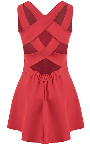 Suzie Criss Cross Pleated Dress - Red