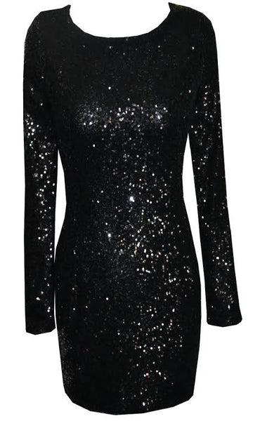Lyn Backless Sequin Dress - Black