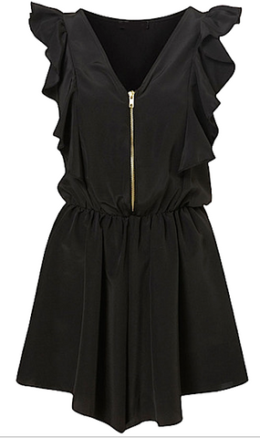 Black Ruffled Mini Playsuit