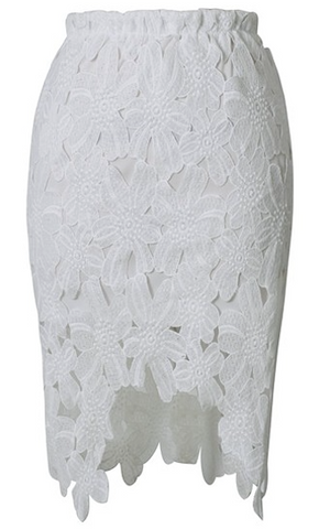Lori Lace Pencil Skirt - White