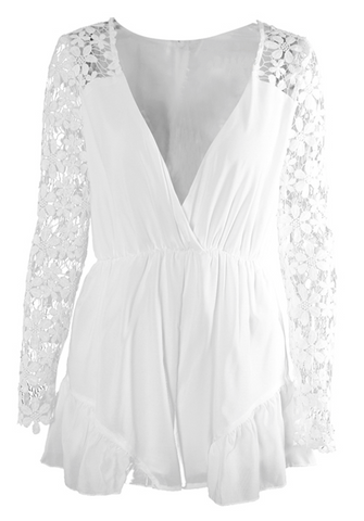 White Lace Mini Playsuit