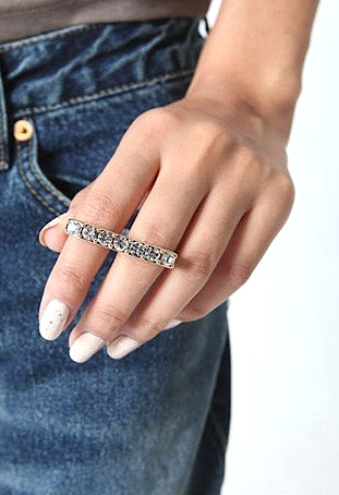 Bling 2-Finger Ring
