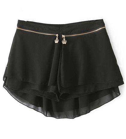 Hi-Lo Chiffon Shorts Skirt - Black
