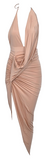 Debbi Hi-Lo Scrunched Maxi Dress - Nude