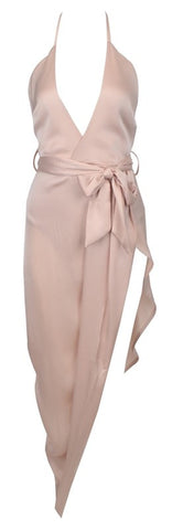 Courtney Hi-Lo Open Back Chiffon Maxi Dress - Nude Pink