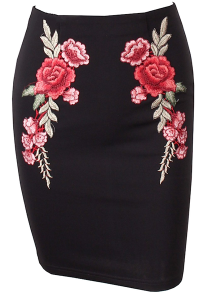 Rose Embroidered Mini Skirt - More Colors