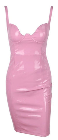 Jalissa Wet Look Bustier Bodycon Dress - Bubble Gum Pink