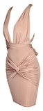 Cynthia Wrap Criss Cross Open Back Dress - Nude