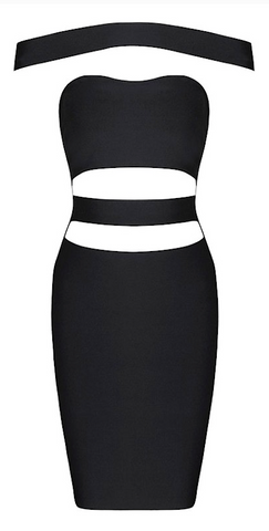 Ciara Off Shoulder Cut Out Bandage Dress - Black