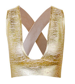 Caged Metallic Gold Bandage Crop Top