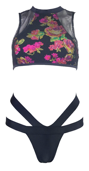 Maia Cut Out Floral Mesh Tankini - Black