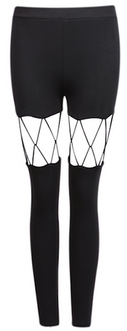 Fishnet Cut Out Leggings - Black