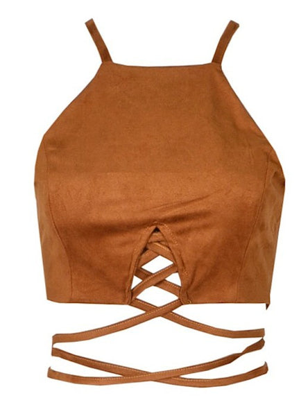 Ola Suede Cropped Top - Brown
