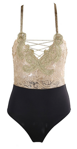 Yaya Color Block Lace Bodysuit - Black & Gold