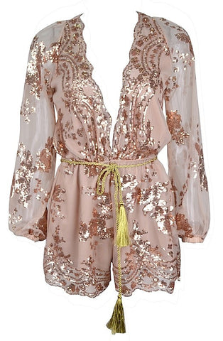 Alexa Semi-Sheer Sequin Chiffon Romper - Romantic Pink