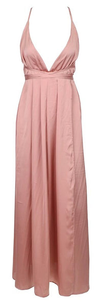 Florence Criss-Cross Open Back Maxi Dress - Pink
