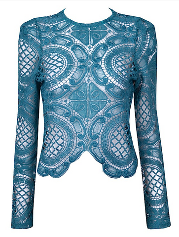 Long Sleeve Crochet Pullover Top - Teal Blue