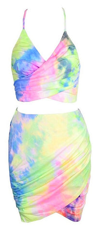 Jessika Two Piece Tie-Dye Dress Set - Rainbow