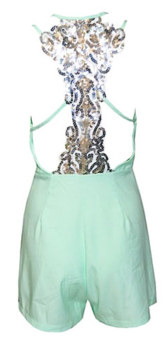 Monroe Sequined Back Mini Playsuit - Mint Green