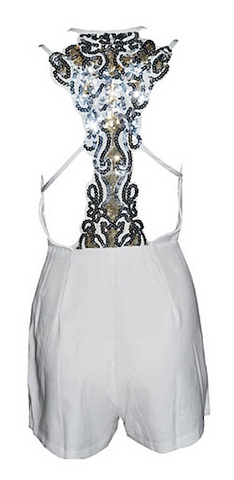 Monroe Sequined Back Mini Playsuit - White