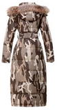 Long Hooded Puffer Coat - Camouflage
