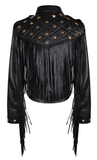 Malcolm Fringe Star Studded Crop Moto Jacket - Black