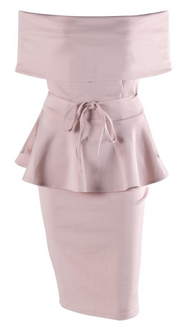 Robyn Off Shoulder Peplum Dress - Pastel Pink
