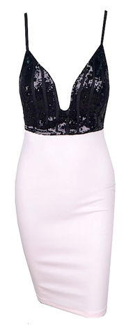 Karrah Geo Sequined Color Block Dress - Black & White